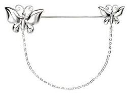 Silver Butterfly Brooch (with pin and chain)